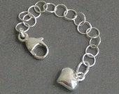Sterling Silver Necklace Extender with Heart Charm, Choose your size 1-6 Inches