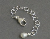 Jewelry Extender - Solid 925 Sterling Silver Chain and Freshwater Pearl Charm. Custom length
