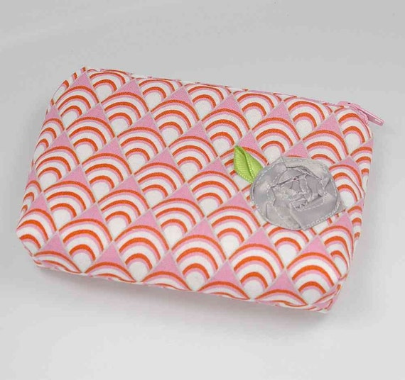 Jewelry Travel Bag. Anti Tarnish Jewelry Bag. For Purse or Carry On, Small. Orange, Pink, White, Gray, Rose, Scallops