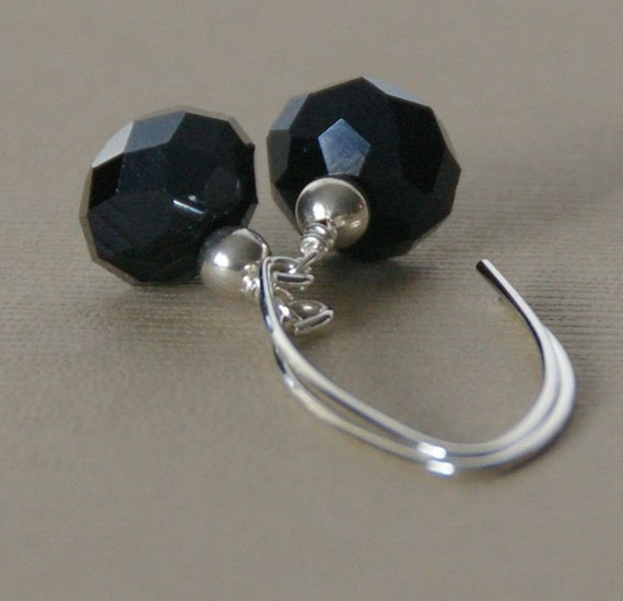 Faceted Black Sterling Silver Earrings. Quartz. Dangle Marquise Earwire.