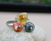 Orange Agate Tumbled Large Stone Sterling Silver Riveted Ring. OOAK stone. Natural tumbled stone. Organic style