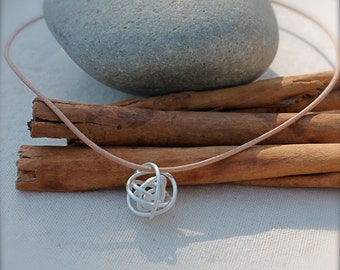 Sterling Silver Handmade Tumbleweed Necklace. Leather necklace. Large Sterling silver Knot. Ball tangled Wire. Wear with everything. OOAK.