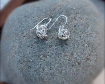 Knot of Sterling Silver. Tumbleweed Earrings. Mini Tiny Small Dangle Style. Minimalist. Simple earrings. Wear everyday.