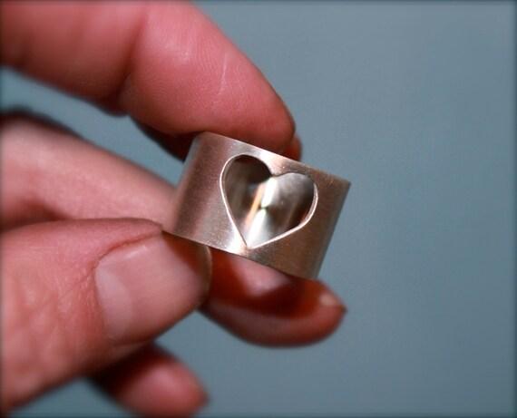 Heart ring. Handmade sterling silver cigar band ring.Silver Heart ring. Simple clean design.Wide band. Minimalist.