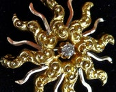 RESERVE ptpopovich Victorian 14k Rose and Yellow Gold with Genuine Diamond Starburst Pendant