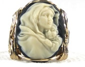 Mother Mary Baby Jesus Cameo Ring 14K Rolled Gold Custom Jewelry