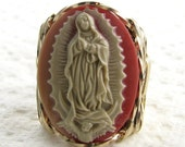 Our Lady Of Guadalupe Cameo Ring 14K Rolled Gold Custom Religious Jewelry