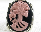 Pink Lolita Lady Skeleton Cameo Ring Sterling Silver Custom Jewelry
