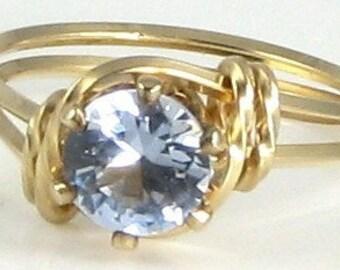 Lab Aquamarine Gemstone Ring 14K Rolled Gold Jewelry Any Size
