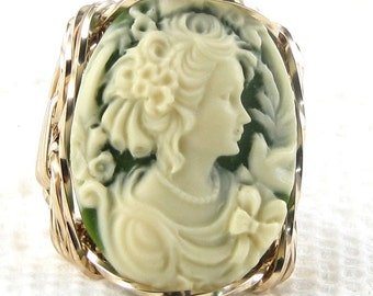 Elegant Lady Dove Cameo Ring 14K Rolled Gold Custom Jewelry
