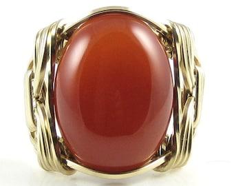 Carnelian Gemstone Ring 14K Rolled Gold Custom Jewelry