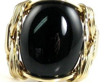 Black Onyx Gemstone Ring 14K Rolled Gold Custom Jewelry
