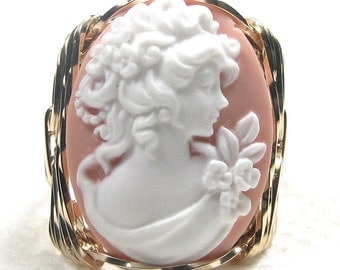 Edwardian Era Lady Pink Cameo Ring 14K Rolled Gold Custom Jewelry Size Selectable