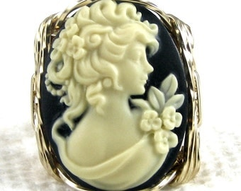 Edwardian Lady Cameo Ring 14K Rolled Gold Jewelry