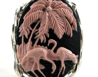 Pink Flamingo Cameo Ring Sterling Silver Custom Jewelry