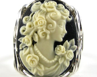 Rose Grecian Goddess Cameo Ring Sterling Silver