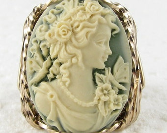 Grecian Goddess Butterfly Cameo Ring 14K Rolled Gold Jewelry