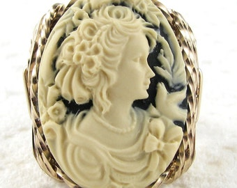 Floral Lady Dove Cameo Ring 14K Rolled Gold Custom Jewelry