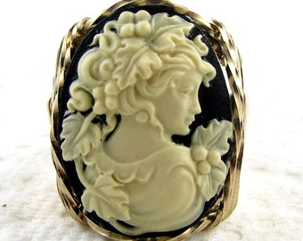 Grecian Goddess Grapes Cameo Ring 14K Rolled Gold Jewelry Size Selectable