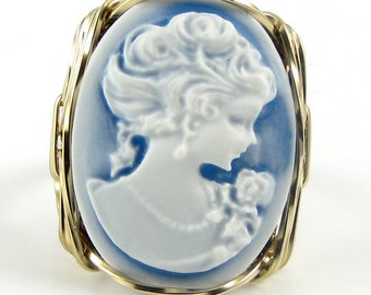 Classical Lady Rose Blue Cameo Ring 14K Rolled Gold Custom Jewelry