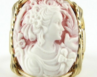 Lady Dove Cameo Ring 14K Rolled Gold Custom Jewelry