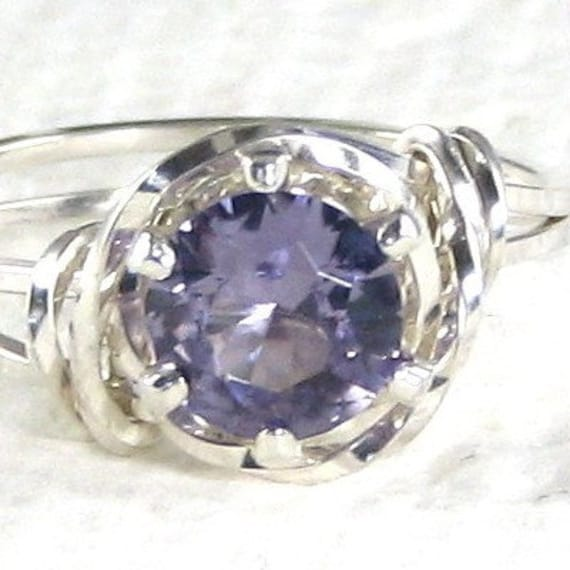 Amethyst Gemstone Ring Sterling Silver Jewelry Any Size