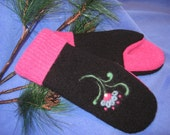 Funky Flower Recycled Wool Mittens
