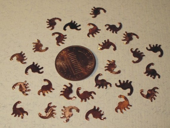 Dinosaur - Nessie Copper Cut-outs - Hand Punched - Katie Gee - Lampworking Supplies