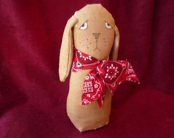 Primitive Dog with Red Bandanna, Canine, Puppy, Home Decor, Sad Dog, Stuffed Dog, Stuffed Animal, Hand Painted Face
