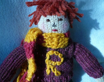 Harry Potter Inspired Hand Knit Doll with Red Hair, Fantasy, Magical, Wizard, Hand Knit Sweater, Crochet Scarf