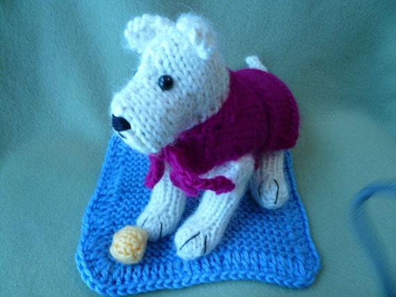 Hand Knitted White Dog with Hand Knitted Wool Coat, Blanket, Ball, Canine, Stuffed Dog, Puppy