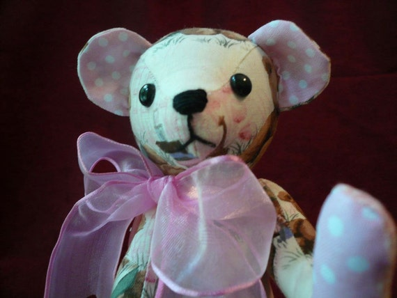 Teddy Bear Sewn with Pink and Brown Teddy Print Fabric