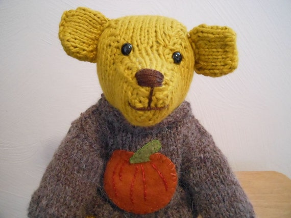 Teddy Bear Hand Knitted with Pumpkin Sweater ,Stuffed Animal, Eco Friendly