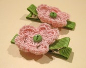 Pink and Green Crochet Flower Hair Clips - Infant/Toddler/Child - Set of 2
