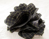 Large Flower Hair Clip - Gray and Green Check
