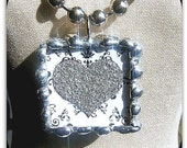 Heart and Zebra Print Soldered Pendant....1.25 x 1. 25  inch  square  Soldered Ripple Rock Pendant...