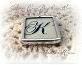 Antique Cream Beige Hand soldered  Initial  Script  Pendant with Decorative Cross....  I inch Square