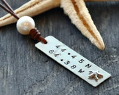 Pearl on Leather Nautical Code Charmed Tag Necklace Featuring Longitude and Latitude