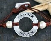 Pearls on Leather Nautical Code Longitude Latitude Disc Bracelet
