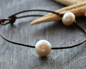South Shore Solitaire Freshwater Pearl on Leather Anklet