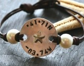 Pearls and Leather Nautical Code Charmed Medallion Bracelet with Longitude and Latitude