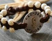 Pearl and Woven Leather Naucical Code Longitude Latitude Bracelet