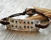 Pearl and Leather Bracelet Nautical Code Longitude Latitude
