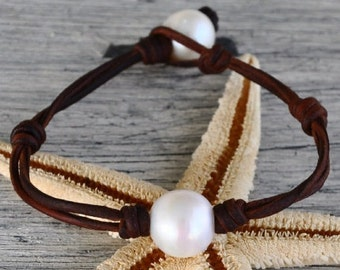 Pearl on Leather Cape Cod Bracelet chosen by style editor of FOOD and WINE MAGAZINE