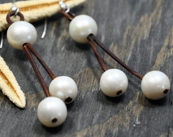 Pearl and Leather Earrings Drama