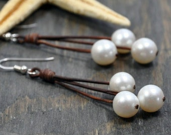 Leather and Pearls Earrings Sea Floats