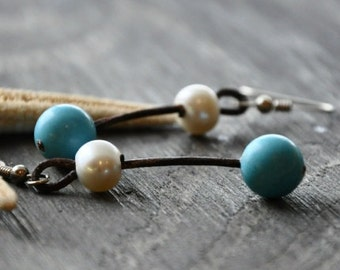 Pearl and Leather Earrings with Turquoise Land and Sea