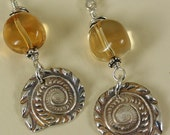 Citrine and Ammonite Earrings