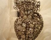 Ex Voto Burning Heart Cuff Bracelet Clear Rhinestones