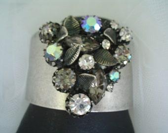 Cuff Bracelet Arora Borealis Smoke, Black,Clear Rhinestones Silver Toned